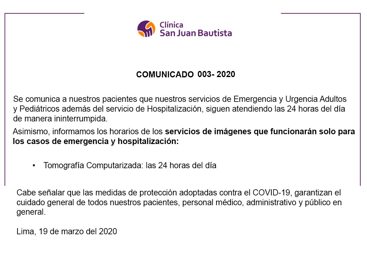 Comunicado 003 – 2020